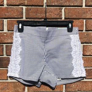 Blue & White Stripe Women's Shorts